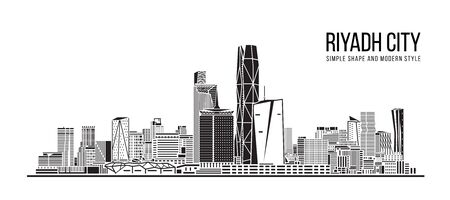 Cityscape Building Abstract Simple shape and modern style art Vector design -  Riyadh city