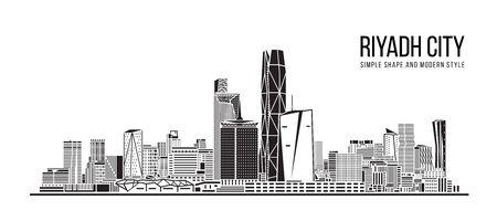 Cityscape Building Abstract Simple shape and modern style art Vector design -  Riyadh city