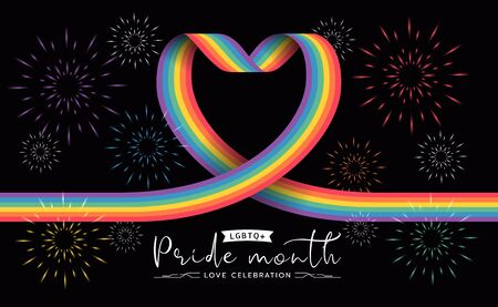 LGBTQ pride month banner with rainbow heart ribbon sign and firework on black background vector design