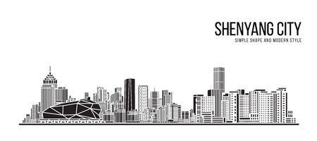 Cityscape Building Abstract Simple shape and modern style art Vector design -  Shenyang city