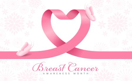 Breast cancer awareness month - pink heart ribbon sign and butterfly on flower texrture background vector design