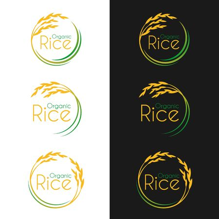 Organic rice with circle yellow-green paddy rice collection vector design
