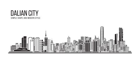 Cityscape Building Abstract Simple shape and modern style art - Dalian city