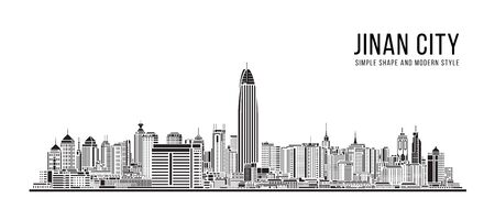 Cityscape Building Abstract Simple shape and modern style art Vector design -  Jinan city