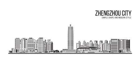 Cityscape Building Abstract Simple shape and modern style art Vector design -   Zhengzhou city 向量圖像