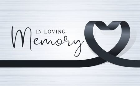 in loving memory text and black heart ribbon sign on soft light wood texture background vector design Vector Illustratie