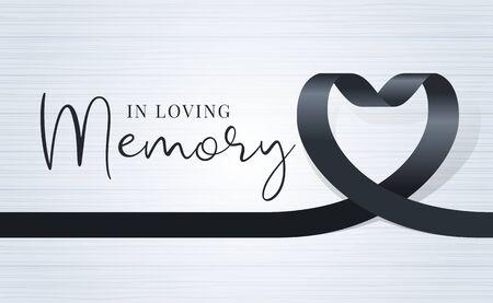 dans le texte de la mémoire affectueuse et le ruban de coeur noir signe sur la conception de vecteur de fond de texture de bois clair doux Vecteurs
