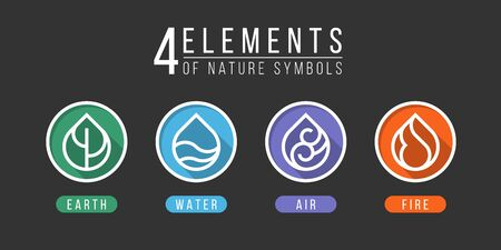 4 elements of nature symbols earth water air and fire with simple border line water drop icon in circle sign