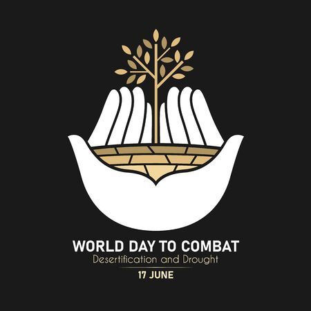 World Day Combat Desertification And Drought with white hand hold dry trees and dry soil sign on black background