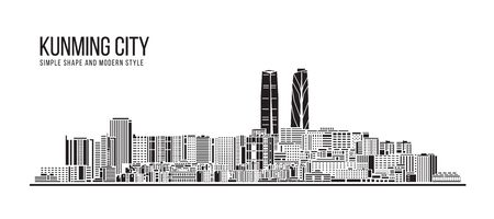Cityscape Building Abstract Simple shape and modern style art Vector design - Kunming city