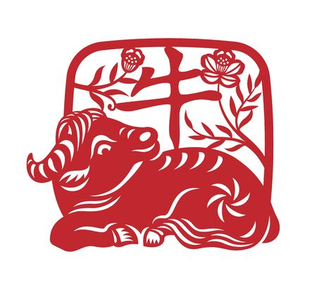 Red Papercutting Chinese Zodiac Ox in Square curved edge frame and china word mean ox vector design