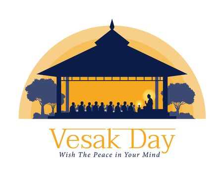 vesak day banner with The Lord Buddha preached to the monks in the ashram at night time vector design