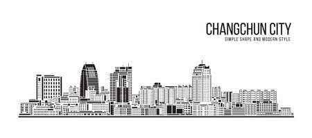 Cityscape Building Abstract Simple shape and modern style art Vector design -  Changchun city 向量圖像