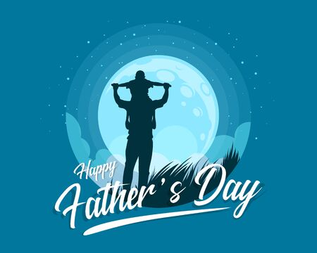 Happy father's day banner with Silhouette son is riding his father is neck at blue full moon night time vector design 向量圖像