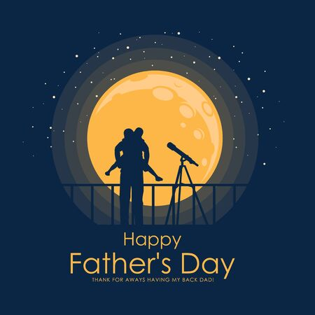 Happy father day banner with Silhouette son is riding his father Watch stars at full moon night time vector design 向量圖像