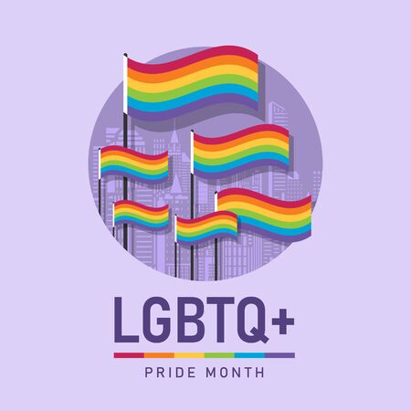 LGBT pride month with rainbow flags in city Building texture circle background vector design 向量圖像