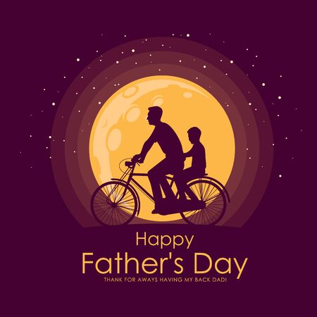 Happy father day banner with Silhouette son and his father riding bicycle at full moon night time vector design