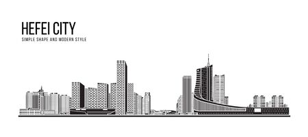 Cityscape Building Abstract Simple shape and modern style art Vector design -  Hefei city
