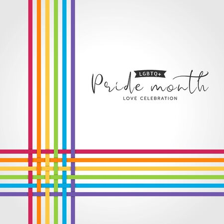 LGBTQ pride month banner with abstract Colorful line cross Weave style on white background vector design