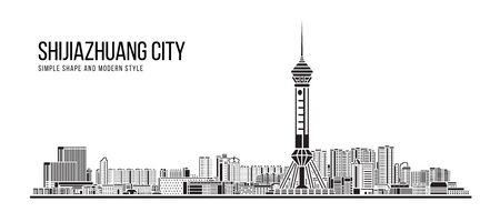 Cityscape Building Abstract Simple shape and modern style art Vector design -  Shijiazhuang city