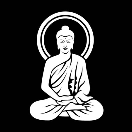 White The Lord Buddha sitting meditated on black background clip art illustration vector design 向量圖像