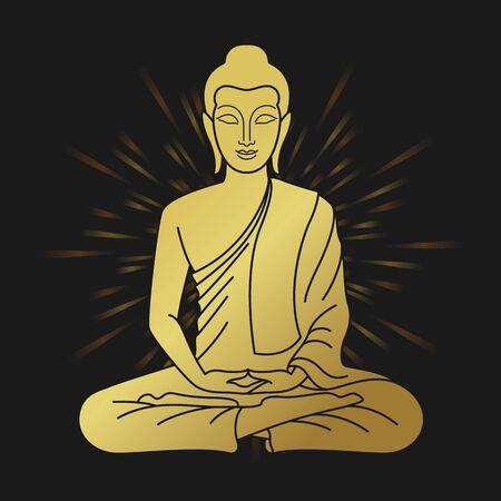 gold buddha sitting meditated sign and Halo light on black background vector design 向量圖像