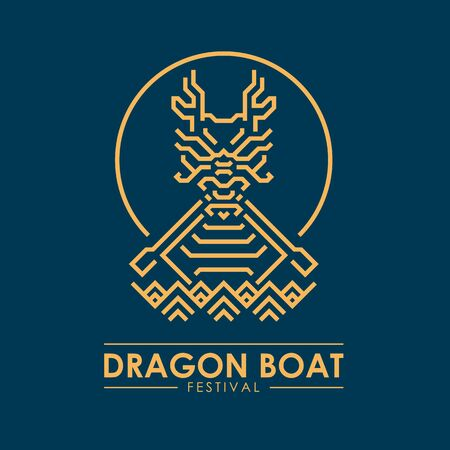 Dragon boat festival banner with yellow gold 向量圖像