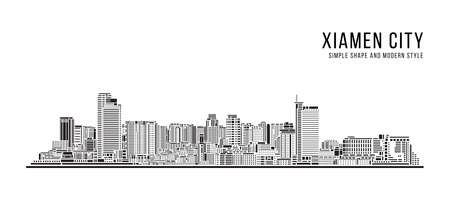 Cityscape Building Abstract Simple shape and modern style art Vector design -  Xiamen city 向量圖像
