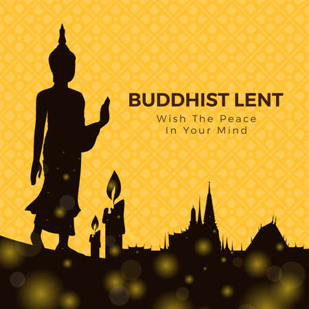 Buddhist lent day with silhouette Buddha standing , candle light and temple on yellow flower cross texture background vector design