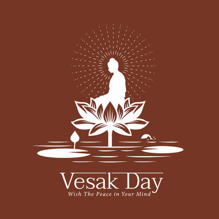 Vesak day banner with The Lord Buddha meditated on Big lotus flower in river on brown background vector design