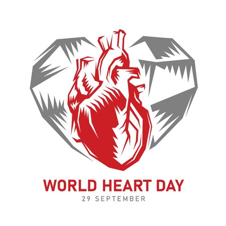World heart day banner with abstract sharp red human heart in heart sign vector design