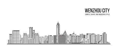 Cityscape Building Abstract Simple shape and modern style art Vector design -  Wenzhou city