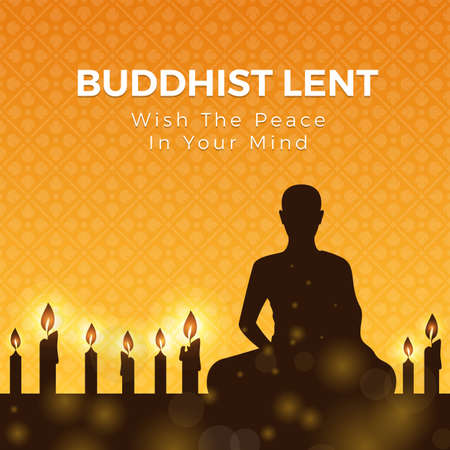 Buddhist lent day with silhouette Meditation and candle light on yellow orange flower cross texture background vector design