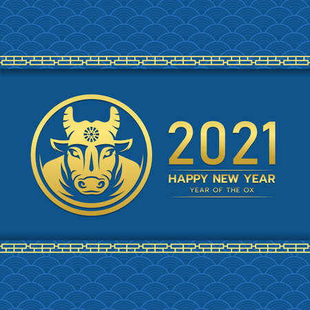Happy chinese new year 2021 with gold head ox zodiac in circle on blue chinese texure background vector design