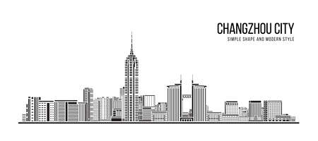 Cityscape Building Abstract Simple shape and modern style art Vector design -  Changzhou city