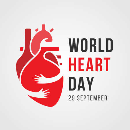 world heart day banner with hand hugging human heart sign vector design