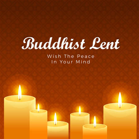 Buddhist lent day with yellow candles light on brown flower cross texture background vector design