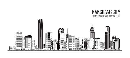 Cityscape Building Abstract Simple shape and modern style art Vector design -  Nanchang city 向量圖像