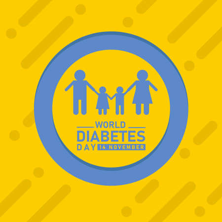 world diabetes day banner with blue family icon sign in blue circle ring frame on yellow background vector design
