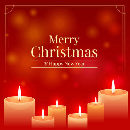 Merry christmas and happy new year banner with candle light on red bokeh background vector design