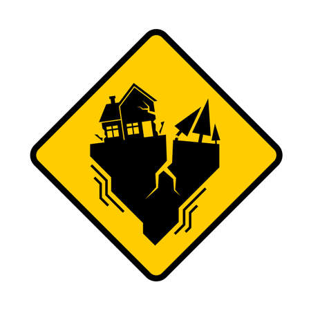 Traffic earthquake sign with Houses and tree Crack in yellow banner vector design