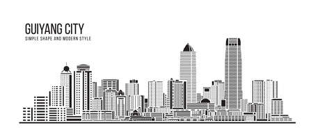 Cityscape Building Abstract Simple shape and modern style art Vector design -  Guiyang city