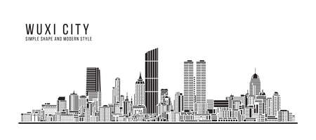 Cityscape Building Abstract Simple shape and modern style art Vector design -  Wuxi city 矢量图像