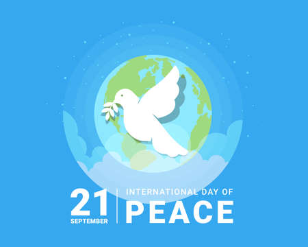 international day of peace - white dove with leaf sign and earth world on blue background vector design