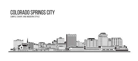 Cityscape Building Abstract Simple shape and modern style art Vector design - Colorado Springs city