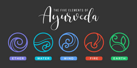 The Five elements of Ayurveda with ether, water, wind, fire, and earth circle abstract border line icon sign on black background vector design