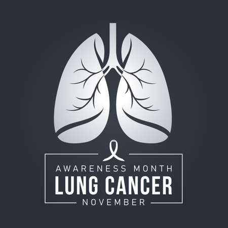 Lung Cancer Awareness banner with lung sign and white ribbon sign on dark blue background vector design
