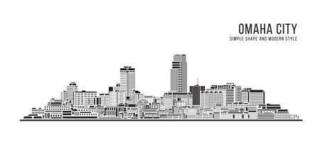 Cityscape Building Abstract Simple shape and modern style art Vector design -Omaha city 向量圖像