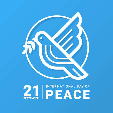 international day of peace - white line dove bird with leaf in circle sign on blue background vector design