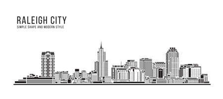 Cityscape Building Abstract Simple shape and modern style art Vector design - Raleigh city